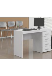 Mesa Escrivaninha Para Notebook 4 Gavetas Malta Branco - Politorno Móveis