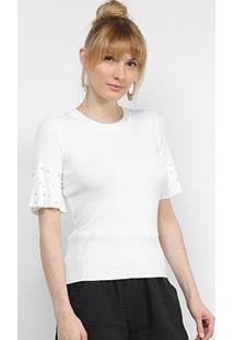 Blusa Lily Fashion Tricot Com Pérolas Feminina - Feminino-Branco