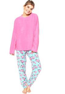 Pijama Any Any Soft Garden Rosa/Azul