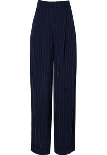 Calça Dudalina Alfaiataria Pantalona Risca De Giz Feminina (Azul Marinho, 36)