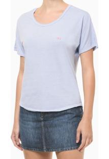 Blusa Feminina Slim Logo Costas Azul Clara Calvin Klein Jeans - Pp