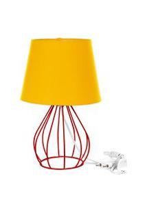 Abajur Cebola Dome Amarelo Com Aramado Vermelho