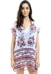 Blusa Estampada 101 Resort Wear Tunica Decote V Crepe Fendas Floral Barrado Vermelho