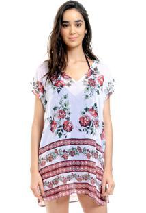 Blusa Estampada 101 Resort Wear Tunica Saida De Praia Decote V Crepe Fendas Floral Barrado Vermelho - Branco - Feminino - Dafiti