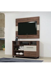 Rack Com Painel Para Tv 55 Polegadas Fusion Castanho E Off White 108 Cm