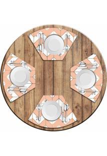 Jogo Americano Love Decor Para Mesa Redonda Wevans Marble Geometric Kit Com 4 Pçs - Kanui