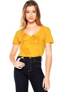 Camiseta Calvin Klein Jeans Flowers Amarela