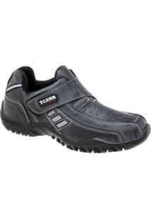 Sapatênis De Couro Tchwm Shoes Com Fechamento Em Velcro - Masculino-Cinza