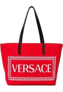 Versace Bolsa Tote Com Logo - Vermelho