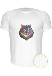 Camiseta Manga Curta Nerderia Lobo Geometrico Branco