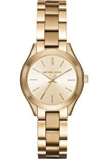 Relógio Michael Kors Mini Slim Runway Feminino - Feminino-Dourado