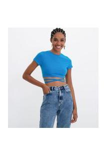 Blusa Cropped Em Algodão Com Amarração Na Barra | Blue Steel | Azul | Gg