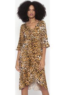 Vestido Midi Animal Print Com Amarração - Amarelo & Pretkm2