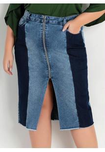 Saia Midi Reta Jeans Com Recortes Plus Size