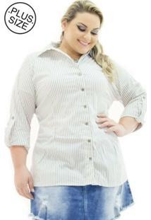 Camisa Tricoline Confidencial Extra Plus Size Listrada Feminina - Feminino-Cinza