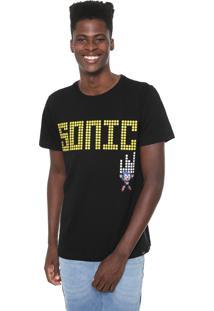 Camiseta Tectoy Sonic The Hedgehog Front Preta