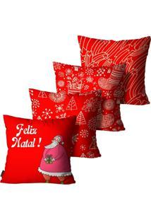 Kit 4 Capas Para Almofadas Mdecore Natal Feliz Natal Vermelha 45X45Cm