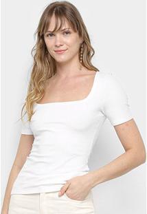 Blusa Colcci Canelada Decote Quadrado Feminina - Feminino-Off White