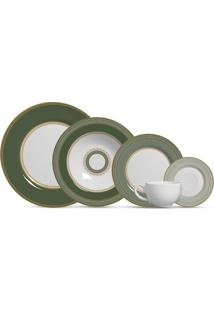 Aparelho De Jantar 20 Peças Plissan - Alleanza - Branco / Verde