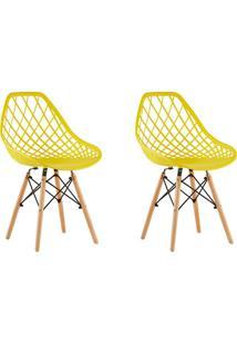 Conjunto Com 2 Cadeiras De Jantar Siberian Eiffel Amarelo