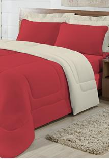 Edredom Solteiro Casa Modelo Dupla Face Malha 100% Algodão 1 Peça - Vermelho/Palha
