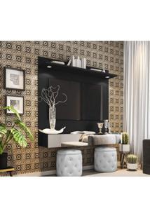 Painel Para Tv Até 55 Polegadas Espelho E Led Moscou Siena Móveis Preto