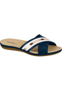 Sandália Rasteira Metalizado- Azul Marinho & Branca-Modare