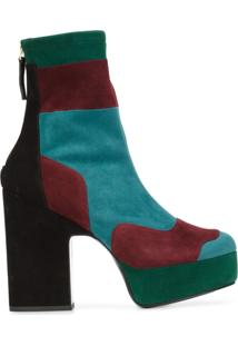 Pierre Hardy Ankle Boot De Camurça Color Block Com Plataforma - Estampado