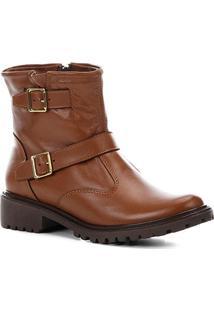 Bota Biker Shoestock Couro Tratorada Feminina - Feminino-Caramelo