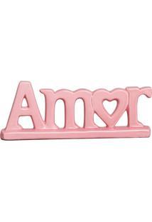 Escultura Decorativa Amor Rosa Bebê 11X29 Cm