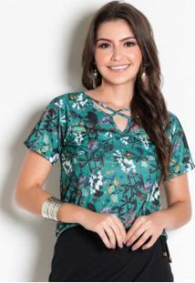 Blusa Floral Verde Com Tiras Em X No Decote