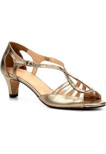 Sandália Couro Shoestock Salto Grosso Ondas Feminina - Feminino