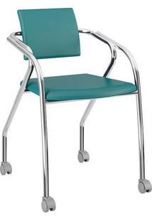 Cadeira Com Rodízios 1713 Cromada Napa/Turquesa Carraro
