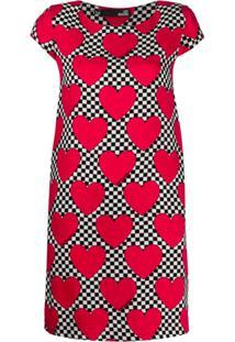 Love Moschino Vestido Xadrez Com Estampa De Coração - Vermelho
