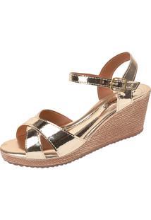 Sandália Romântica Calçados Anabela Dourada