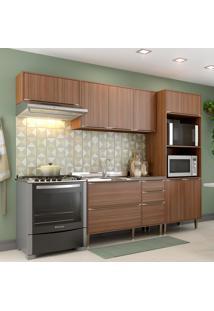 Cozinha Compacta Calábria 9 Portas 3 Gavetas Nogueira/Malt - Multimóveis