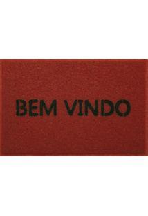 Capacho Vinil Bem Vindo Light 40X60 Cm - Kapazi - Vermelho