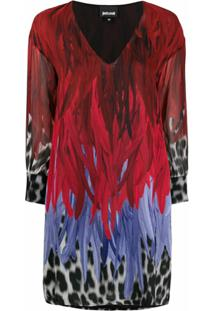 Just Cavalli Vestido Reto Animal Print - Vermelho