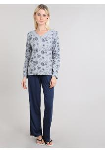 Pijama Feminino Estampado Manga Longa Floral Cinza
