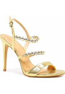 Sandália Zariff Shoes Salto Metalizada - Feminino-Dourado