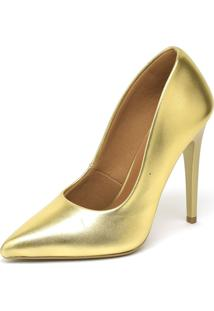 Scarpin Metalizado Salto Alto Bico Fino Ellas Dourado