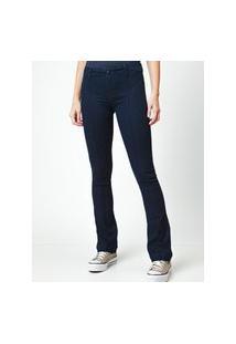 Calça Feminina Jeans Flare Cinza Escuro