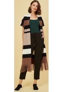 Colete Amaro Tricot Longo Listras Colorful Stripes - Preto - Feminino - Dafiti