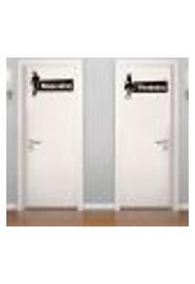 Adesivo De Parede - Placa De Banheiro Masculino E Feminino - P 40X40Cm