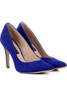 Scarpin Couro Jorge Bischoff Nobuck Feminino - Feminino-Azul Royal