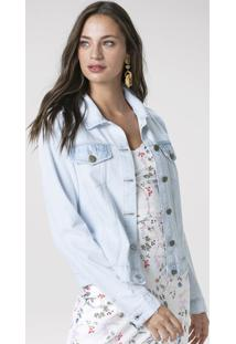 Jaqueta Jeans Delavê Com Bolsos