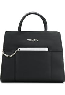 Tommy Hilfiger Bolsa Tote Com Alça De Mão E Logo - Preto