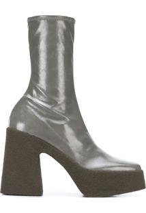 Stella Mccartney Ankle Boot Com Plataforma - Cinza