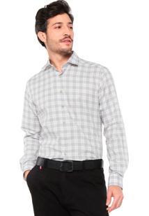 Camisa Dudalina Slim Fit Quadriculada Cinza