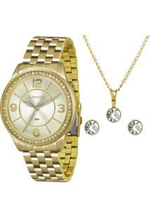 Kit De Relógio Analógico Lince Feminino + Brinco + Colar - Lrg4340L Kt05C2Kx Dourado - Único